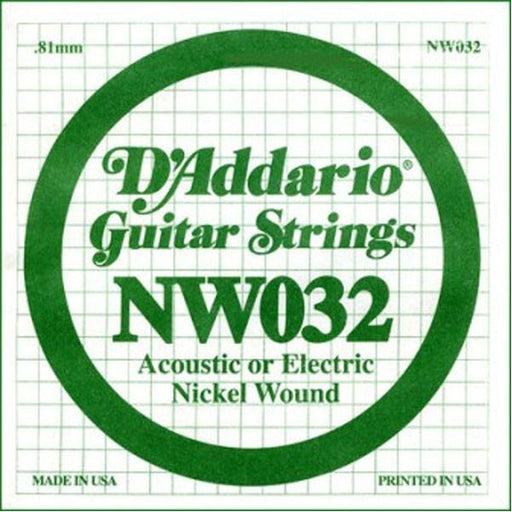 D'Addario NW032 Nickel Wound Electric Guitar Single String .032 Set of 3