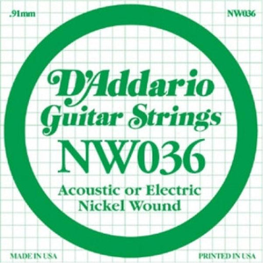 D'Addario NW036 Nickel Wound Electric Guitar Single String .036 Set of 3 Strings