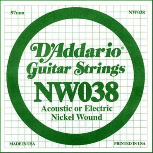 D'Addario NW038 Nickel Wound Electric Guitar Single String, .038 set of 3 string