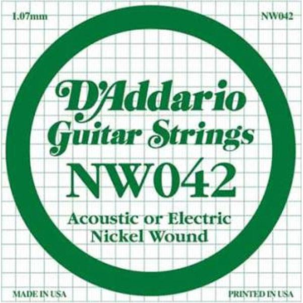 D'Addario NW042 Nickel Wound Electric Guitar Single String, .042 set of 3 string.