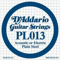 D'Addario PL013 Guitar String, Single Plain Steel .013  - Set Of 3