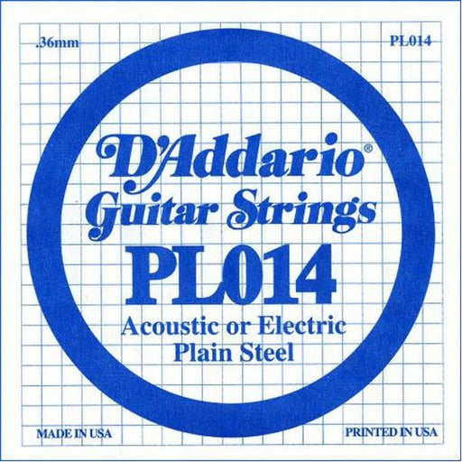 D'Addario PL014 Single Plain Steel .014 Guitar String Set Of 3