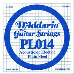 D'Addario PL014 Guitar String, Single Plain Steel .014 - Set Of 3