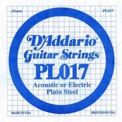 D'Addario PL017 Single Plain Steel .017