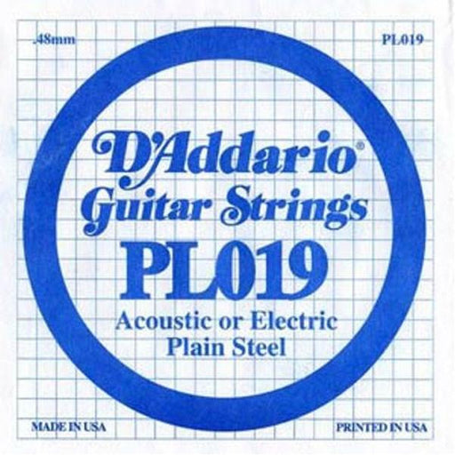 D'Addario PL019 Single Plain Steel .019 Guitar Strings Set Of 3