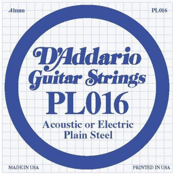 D'Addario Plain Steel .016 PL016 Guitar Strings  Set of 3 strings