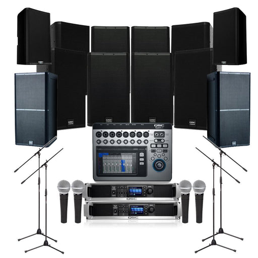 Auditorium Sound System with 8xQSC E115 Wall Mount Loudspeakers, 2xSubwoofer, Crossover,Mixer,Mics,Monitors & Power Amp