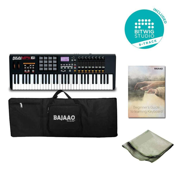 Akai Pro MPK61 61-Key MIDI Controller Keyboard Bundle With Btwig Software, Ebook, Cloth & Gigbag