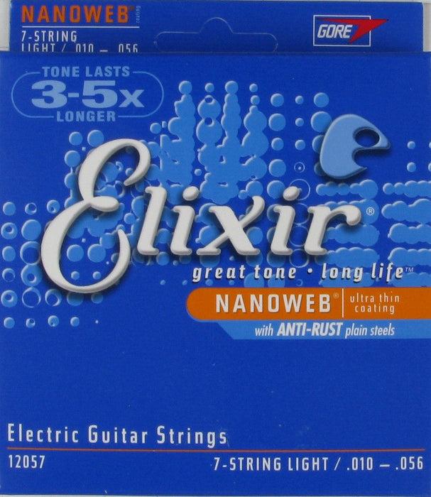 Elixir 12057 Nanoweb Light 7-String Electric Guitar Strings