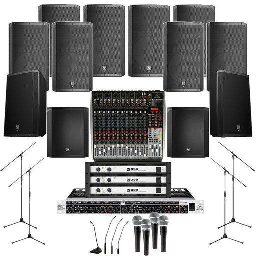 Auditorium Sound System 8xElectro Voice ELX 200 15P Wall Mount Loudspeakers, 2xSubwoofer, 3xAmplifiers, Monitors, Mics, Stands & Mixer