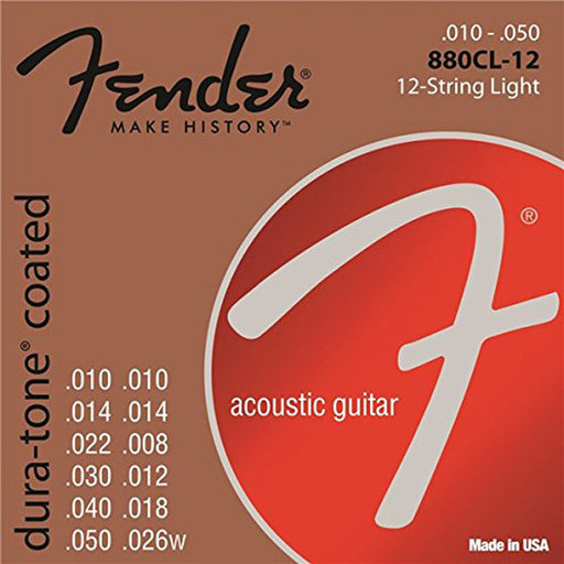 Fender 880CL-12 80/20 Dura Tone Coated Acoustic Guitar Strings