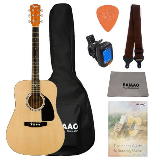 Fender Squier SA-150 Dreadnought Acoustic Guitar Bundle with Gigbag, Picks, Strap and Polishing Cloth