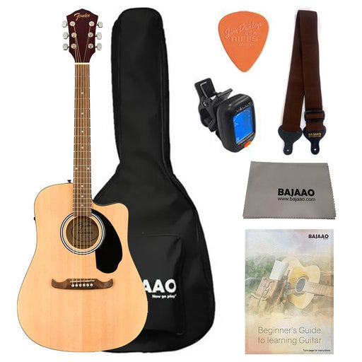 Fender FA-125CE Dreadnought Electro Acoustic Guitar  Bundle with Gigbag, Picks, Strap and Polishing Cloth