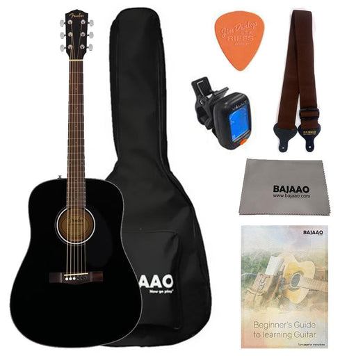 Fender CD60S Dreadnought Acoustic Guitar Bundle with Gigbag, Picks, Strap and Polishing Cloth