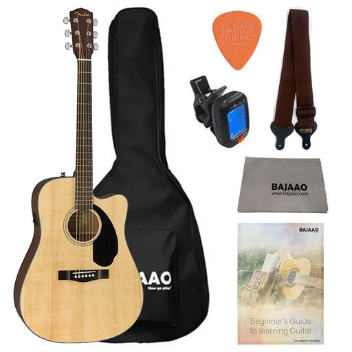 Fender CD-60SCE Electro-Acoustic Guitar Bundle with Gigbag, Picks, Strap and Polishing Cloth