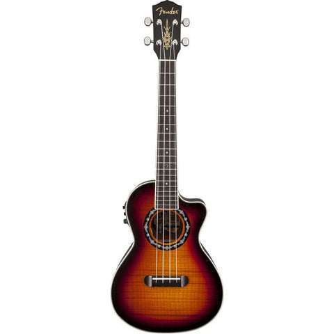 Fender T-Bucket Tenor Ukulele with Flame Maple Top and Rosewood Fingerboard - 3-Color Sunburst