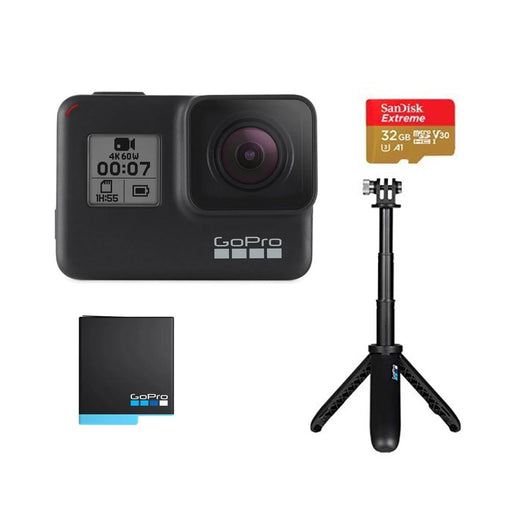 GoPro HERO7 Black Holiday Bundle with Shorty ,SD Card & Rechargeable Battery - 2 Years Warranty