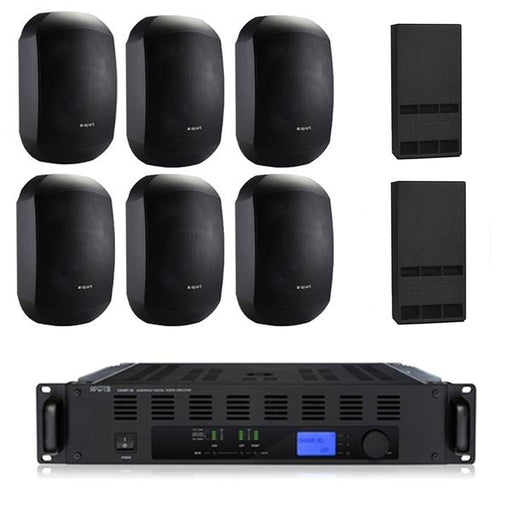 Gym Sound System with 6xMASK 4 CT Wall Mount Loudspeakers, Subwoofer, & Champ 3D Power Amp