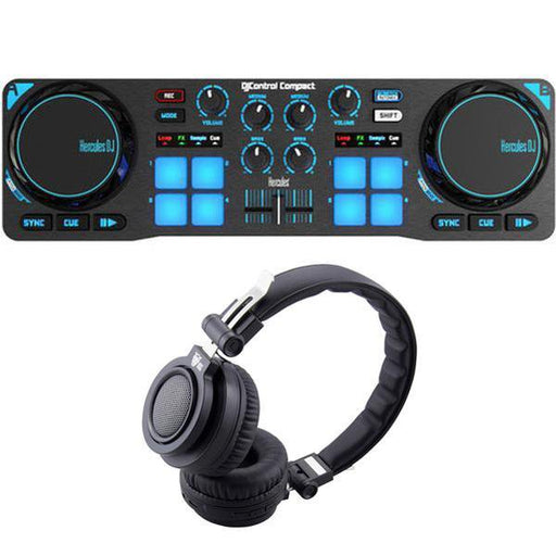 Hercules DJ Control Compact DJ Software Controller with Ant Audio H86 Bluetooth Headset