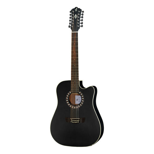 Harley Benton HB Custom Line CLD-10SCE-12 Dreadnought Cutaway Electro Acoustic Guitar - Black Matte