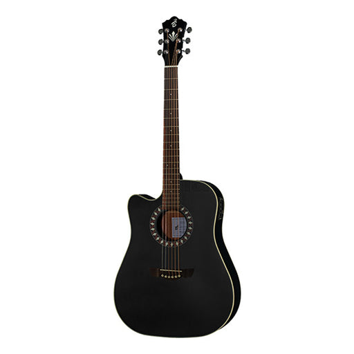 Harley Benton CLD-10SCE LH Dreadnought Cutaway Electro Acoustic Guitar - Black Matt