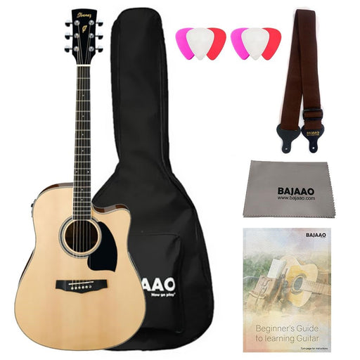 Ibanez PF15ECE Cutaway Dreadnought Electro Acoustic Guitar Bundle with Gigbag, Picks, Strap and Polishing Cloth