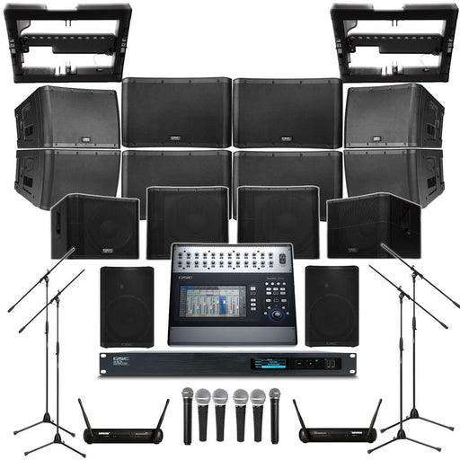Auditorium Sound System with 8xQSC KLA12 Wall Mount Loudspeakers, 4xSubwoofer, Processor, Mixer, Mics, Monitors & Power Amp