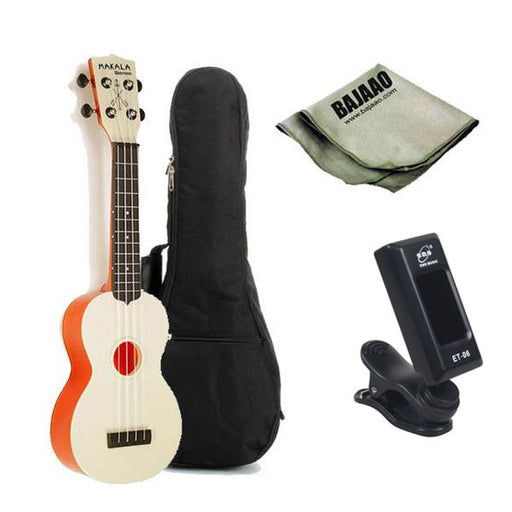 Kala MK-SWT Makala Waterman Soprano Standard Ukulele - Translucent Orange Bundle