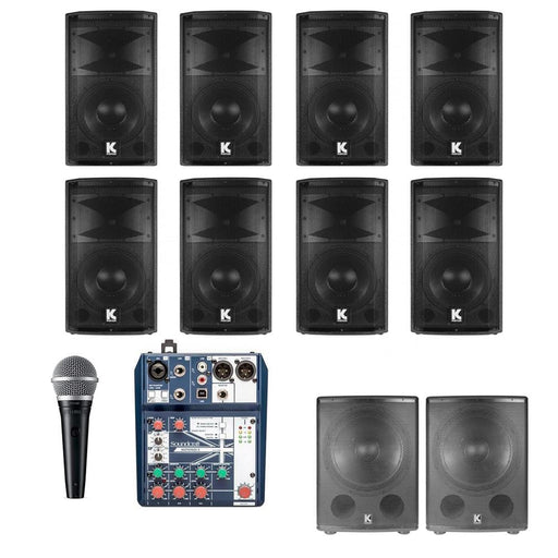 Restaurant Sound System with 8xKustom Hipac 10 Wall Mount Loudspeakers, Subwoofer, Mic & Soundcraft Mixer