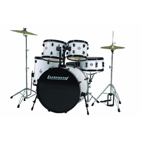 Ludwig 5 Piece Accent Drive Drum Set with Hardware & Cymbals