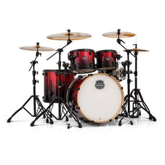 Mapex AR529SBNV Acoustic Drum Set, Hybrid Shell Pack with Black Fittings, Magma Red, 5 pcs
