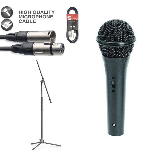 On-Stage Audio Spectrum AS400 Low-Z Dynamic Handheld Microphone Bundle