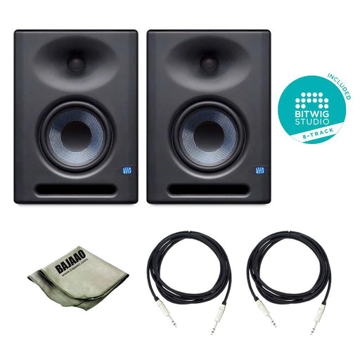 Presonus Eris E5 XT 2-Way Active Studio Monitors with Wave Guide - Pair With Polishing Cloth, 2x TRS Cables & Bitwig Software
