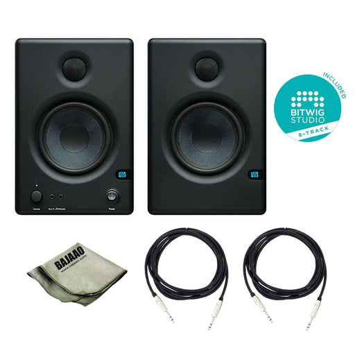 Presonus Eris Studio Monitors - E4.5 High-Definition 2-Way Nearfield Speakers - Pair With Polishing Cloth, 2x TRS Cables & Bitwig Software