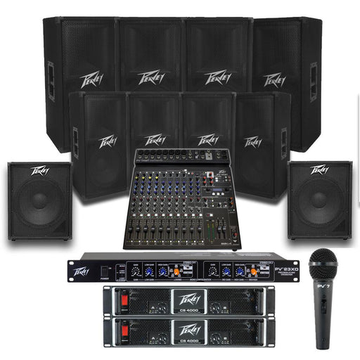 Church Sound System with 8xPeavey PV 112 Wall Mount Loudspeakers, 2xSubwoofer, 5xAmplifier, Crossover, Mic & PV15BT Mixer