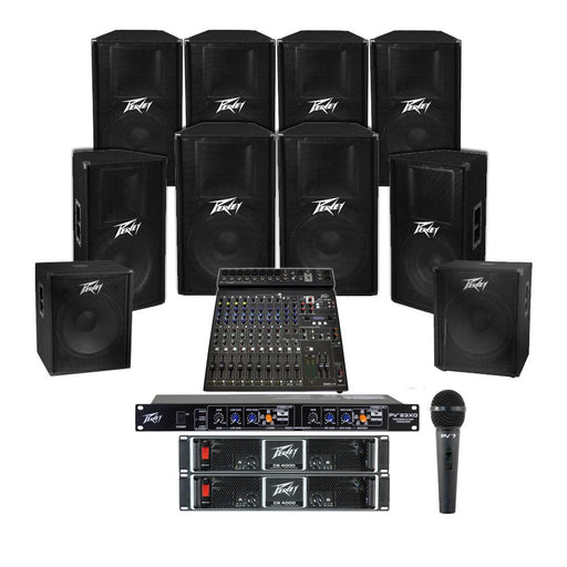 Church Sound System with 8xPeavey PV 115 Wall Mount Loudspeakers, 2xSubwoofer, 5xAmplifier, Crossover, Mic & PV15BT Mixer