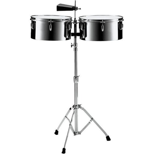 "Pearl PTS5134 13"" and 14"" Steel Timbales with Cowbell and Stand"