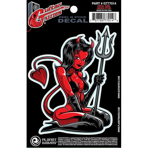 Planet Waves Guitar Tattoo Decal - Devil Girl (GT77014)