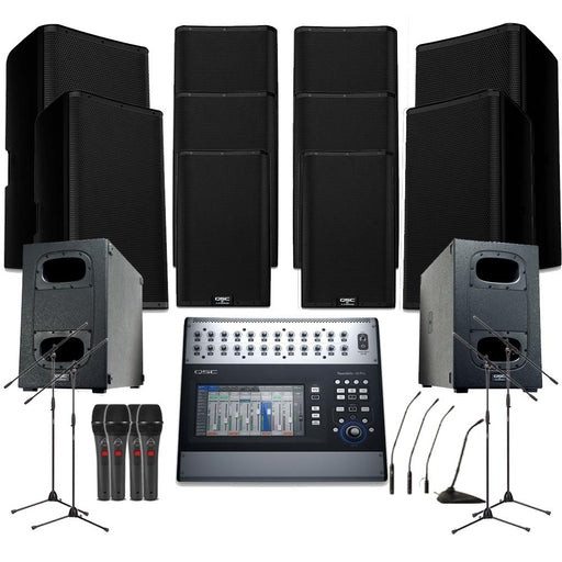 Temple Sound System 8xQSC K12.2 Wall Mount Loudspeakers, 2xSubwoofer, Monitors, Mics, Stands & Mixer