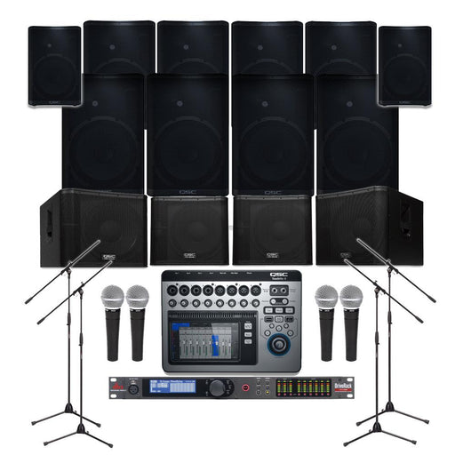 Auditorium Sound System with 10xQSC CP12 Wall Mount Loudspeakers, 4xSubwoofer, Processor, Mixer, Mics & Monitors