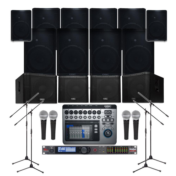 Pub Sound System with 10xQSC CP-12 Wall Mount Loudspeakers, 4xSubwoofer,  Crossover,Mixer,Mics & Monitor