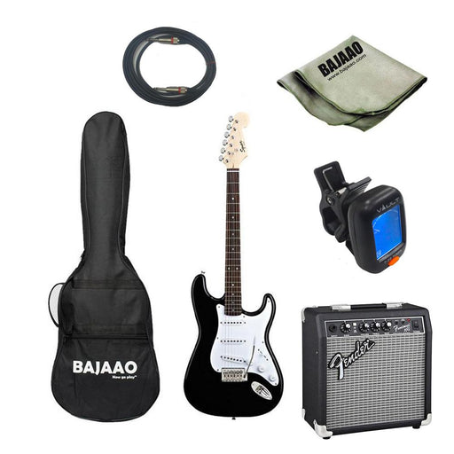 Fender Squier Bullet Stratocaster With Tremolo Electric Pro Guitar Bundle with Amplifier, Tuner, Cable and Polishing Cloth