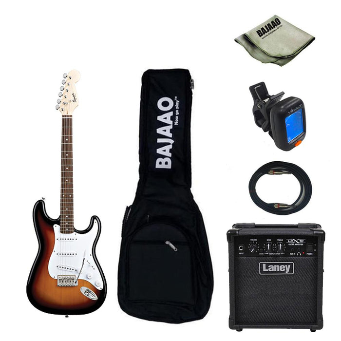 Fender Squier Bullet Strat With Tremolo Standard Electric Guitar Bundle with Amplifier, Tuner, Cable and Polishing Cloth