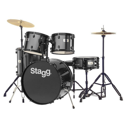 Stagg TIM122B BK Drum Set (Black) with Cymbals, Drum Throne & Sticks