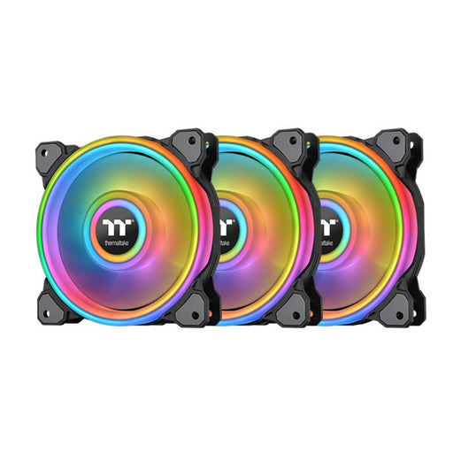 ThermalTake Riing Quad 12 RGB Radiator Fan TT Premium Edition 3 Fan Pack- Black- Controller included
