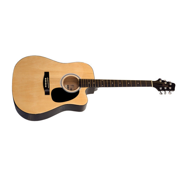 Stagg SW201CW Dreadnought Acoustic Cutaway Guitar - Natural