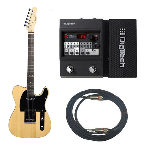 Vault TL1 Basic Electric Guitar With Digitech Element XP ELMTXPV-01 Guitar Processor Bundle - Natural