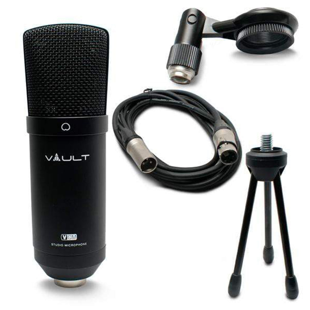 Vault VCM Studio Condenser Microphone with XLR Cable, Tripod, Mount and  Foam Pop Filter