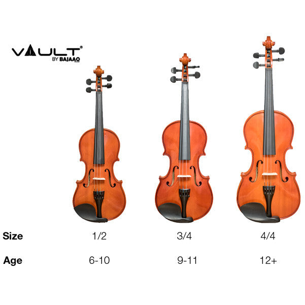 Vault VI1020 4/4 Beginner's Violin With Hard Case, Rosin and Bow