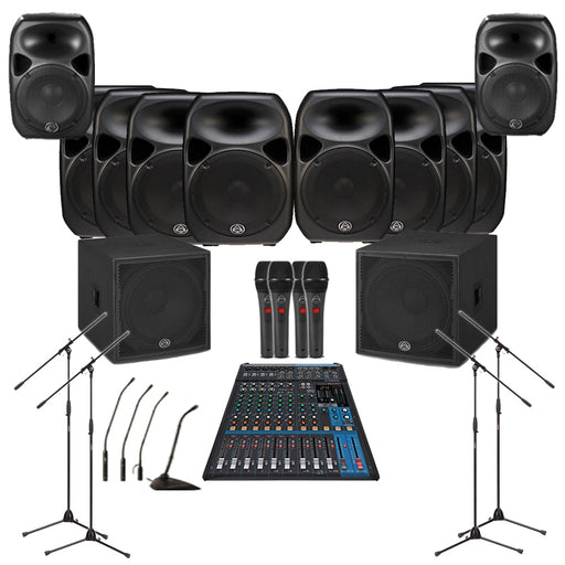 Temple Sound System 8xWharfedale PRO 15D Wall Mount Loudspeakers, 2xSubwoofer, Monitors, Mics, Stands & Mixer